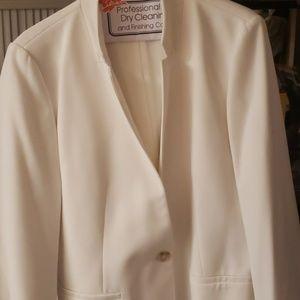 Loft white notch collar blazer size 12